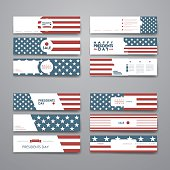 Set of modern design banner template in Presidents Day style