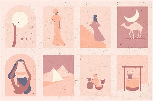 Set of modern design,  Landscapes of  Sahara