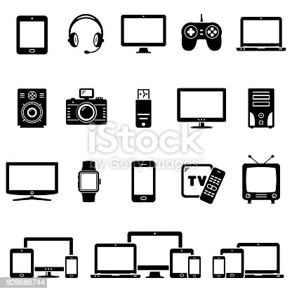 Modern digital devices and electronic gadgets icons. Vector illustration.