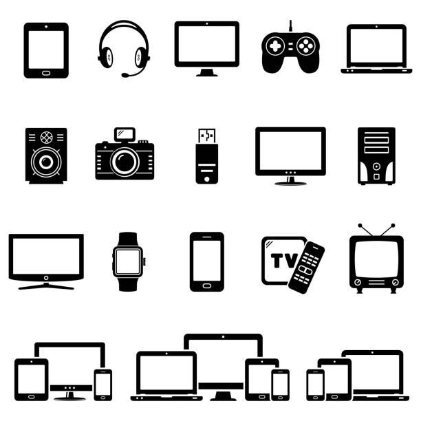 zestaw ikon nowoczesnych urządzeń cyfrowych - przemysł elektroniczny stock illustrations
