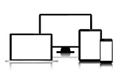 Set of modern digital tech devices with blank screen isolated on white background, business concept for your infographic, computer, smartphone, tablet, laptop