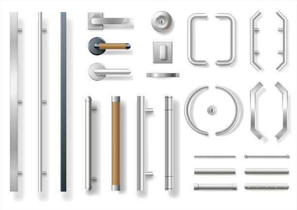 Set of modern door handles Set of modern door handles for doors or windows. Architectural details and accessories. Vector graphics handle stock illustrations