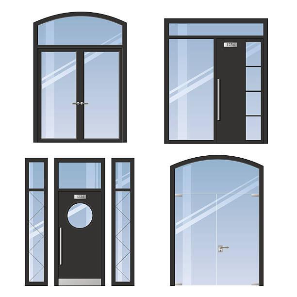 illustrations, cliparts, dessins animés et icônes de ensemble moderne des portes - vitrine magasin