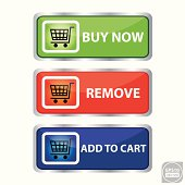 Set of modern e-commerce buttons and icons ,buy now, remove, add to cart.
