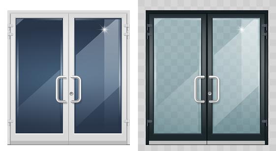 Set of modern entrance doors black white