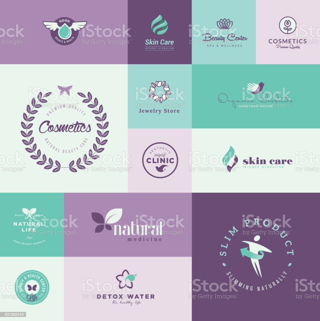 Set of modern flat design beauty and healthcare icons vector art illustration