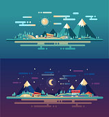 Set of modern flat design conceptual landscapes with animals, houses