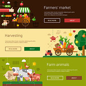 Set of flyer templates of vector modern flat design farm and agriculture icons and elements