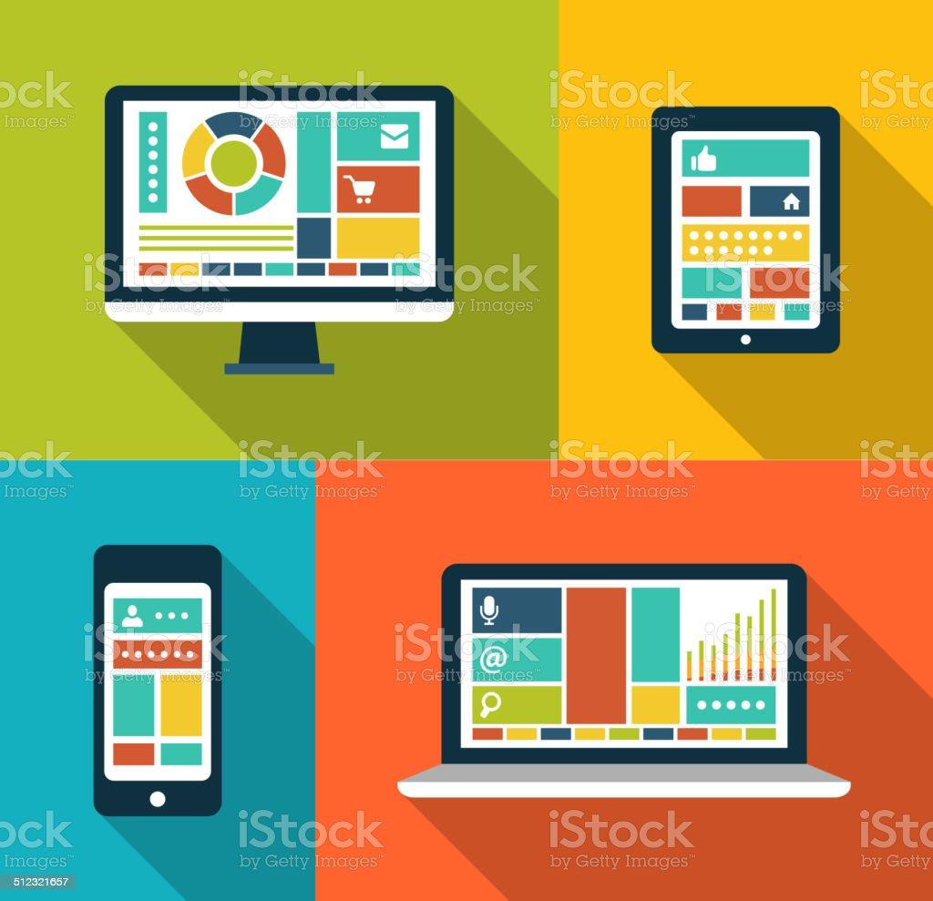 Set of modern flat design gadget icons vector art illustration