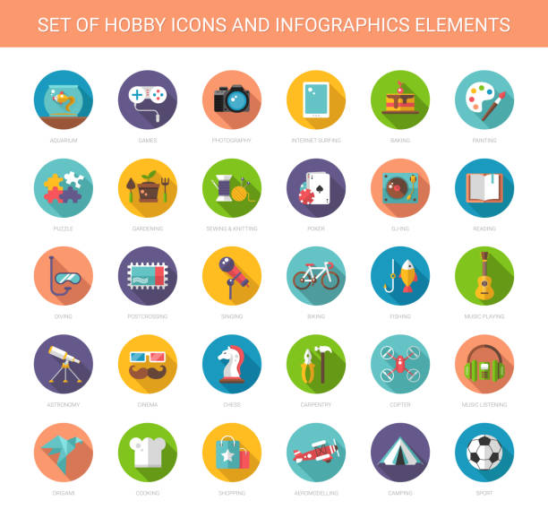 stockillustraties, clipart, cartoons en iconen met set of modern flat design hobby icons and infographics elements - hobby's