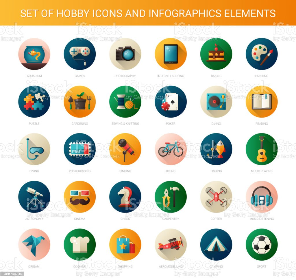 Set of modern flat design hobby icons and infographics elements vector art illustration