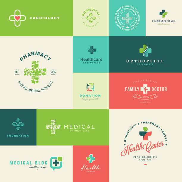 illustrazioni stock, clip art, cartoni animati e icone di tendenza di set di moderno design piatto icone di medicina e sanità - croce farmacia