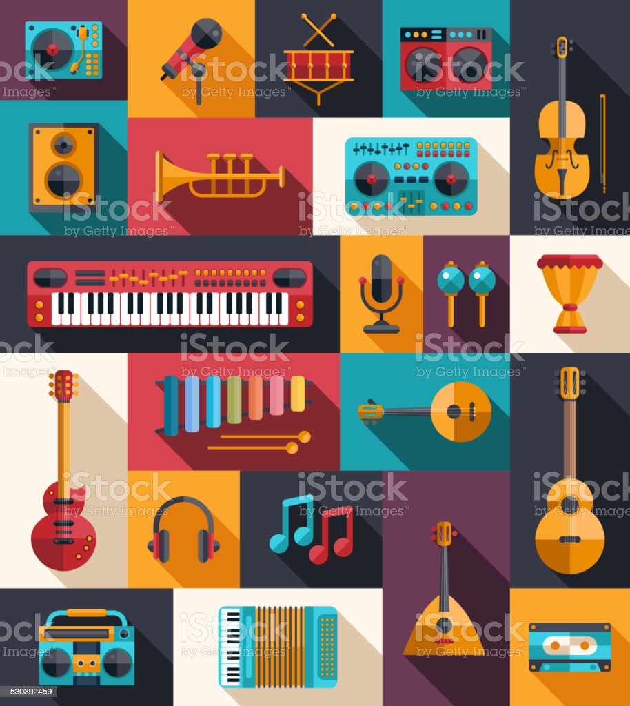 Set of modern flat design musical instruments and music tools vector art illustration