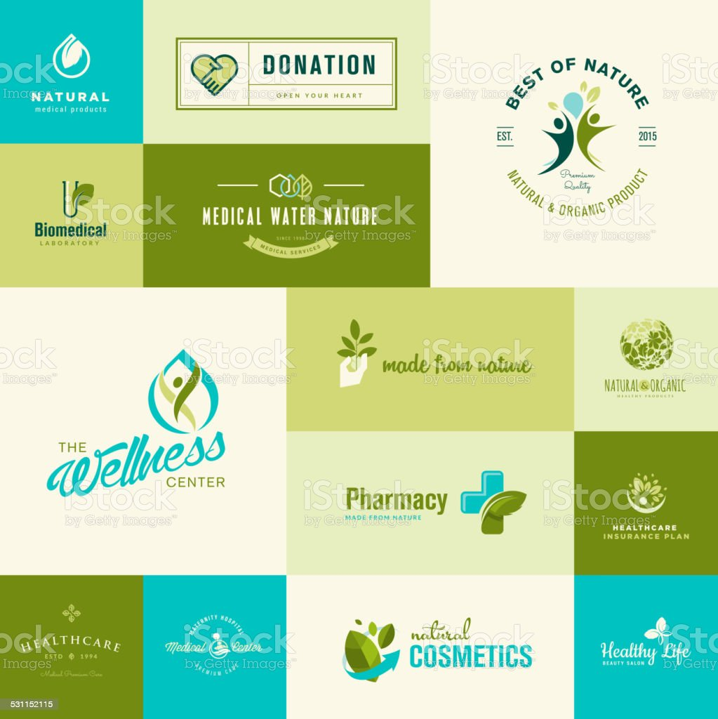 Set of modern flat design nature and healthcare icons vector art illustration