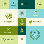 Set of modern flat design nature and technology icons