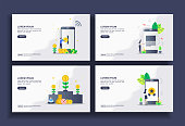 Set of modern flat design templates for Business, mobile banking, send file, investment, high quality. Easy to edit and customize. Modern Vector illustration concepts for business