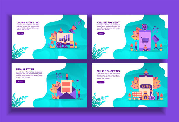 illustrazioni stock, clip art, cartoni animati e icone di tendenza di set of modern flat design templates for business, online marketing, online payment, newsletter online shopping. easy to edit and customize. modern vector illustration concepts for business - newsletter