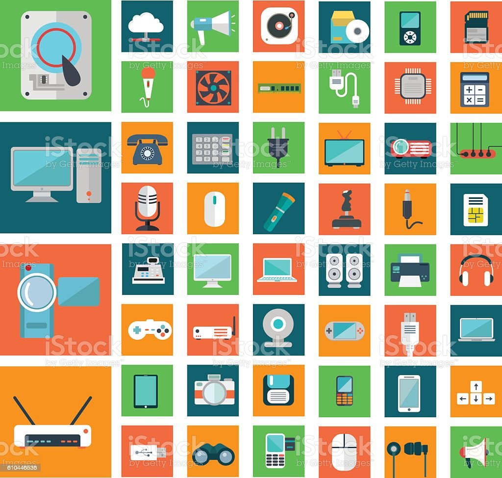 Set of modern flat electronic devices icons vector art illustration