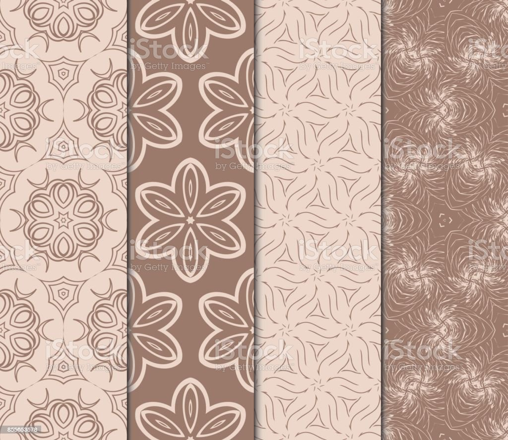 Set Of Modern Floral Pattern Of Geometric Ornament Seamless Vector ...
