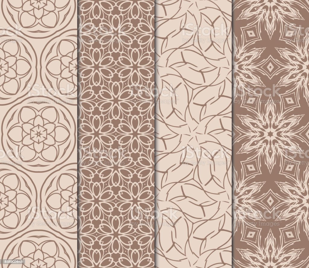 Set Of Modern Floral Pattern Of Geometric Ornament Seamless Vector