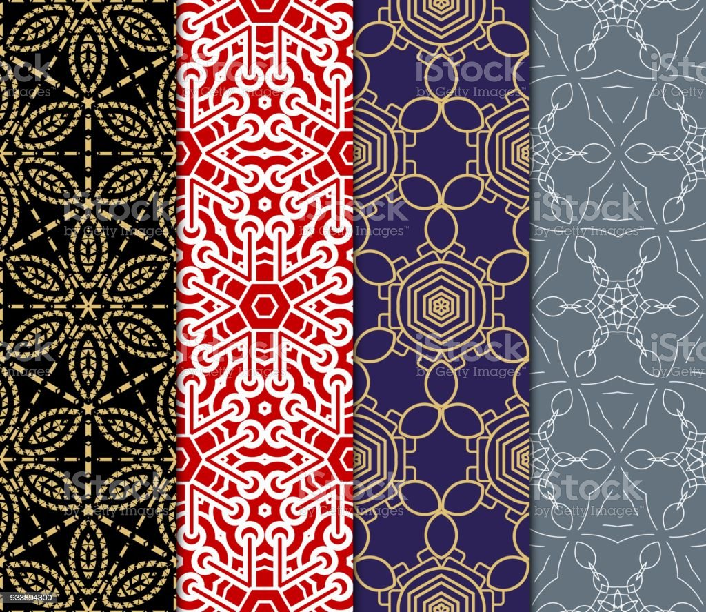 Set Of Modern Floral Seamless Pattern Art Background Luxury
