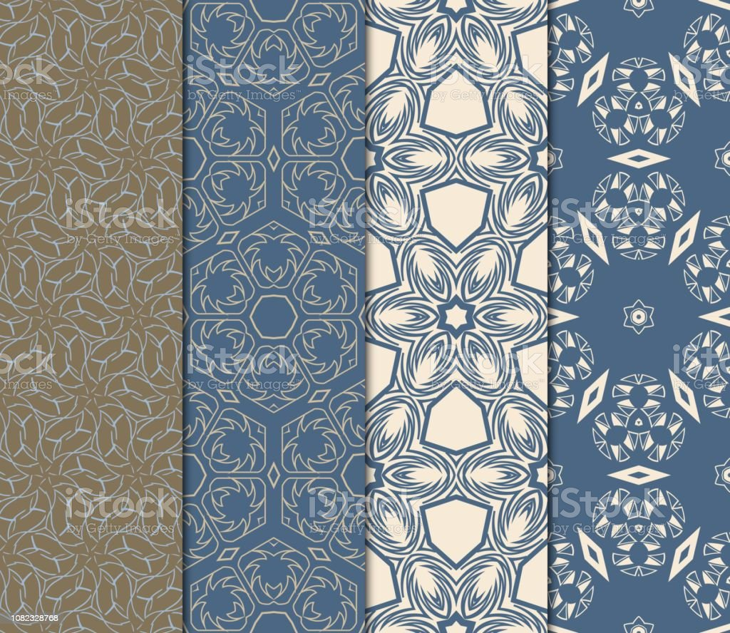 Set Of Modern Floral Seamless Pattern Decorative Texture For