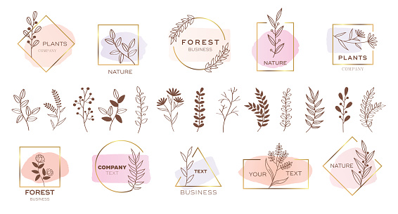 Set of modern flower logo design with pastel colors.