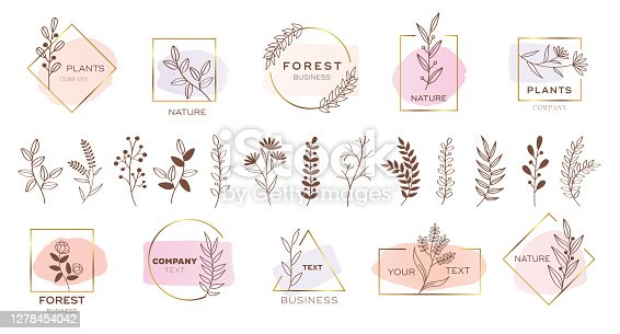 Set of modern flower logo design with pastel colors.