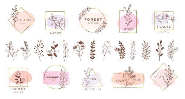 Set of modern flower logo design with pastel colors. Set of modern flower logo design with pastel colors. flowers stock illustrations