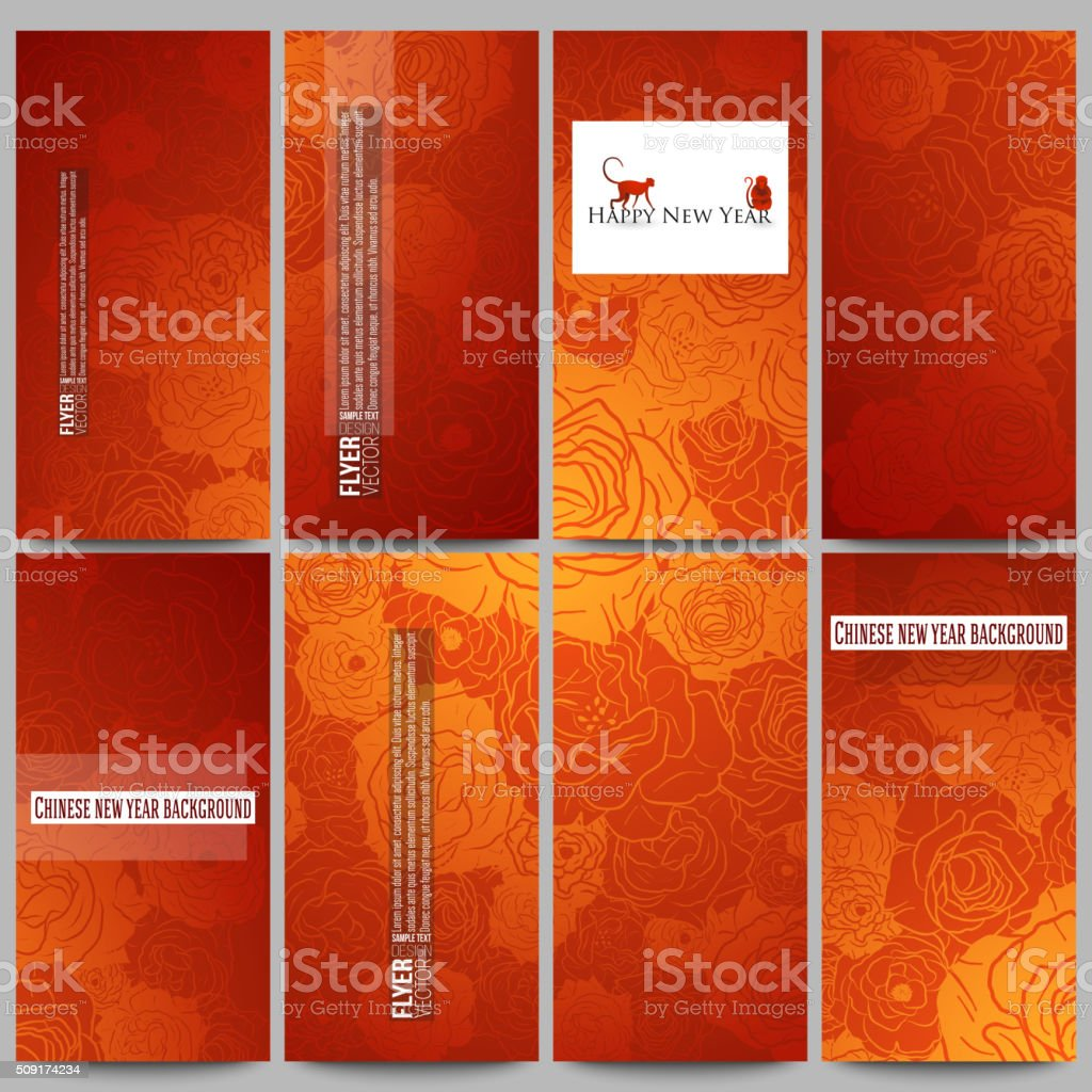 chinese new year background floral design royalty free set