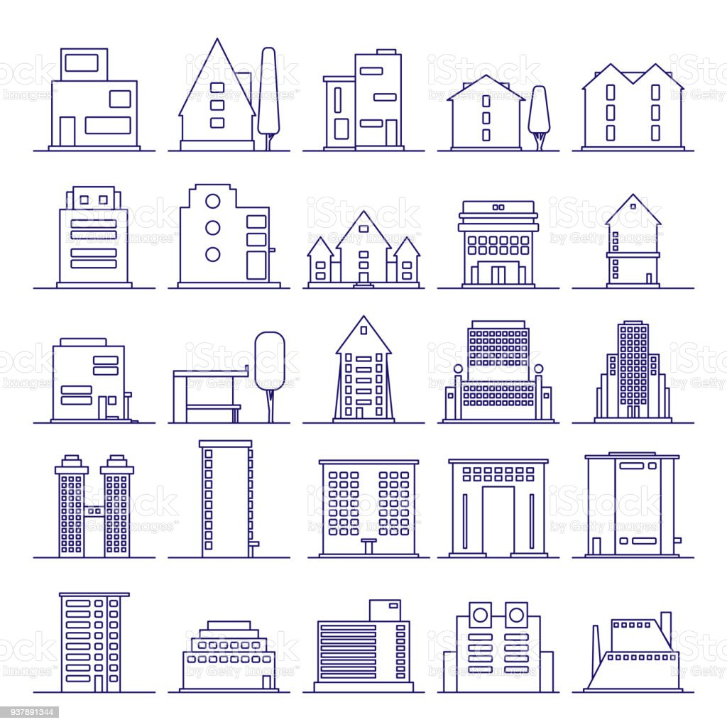 Set of modern futuristic building icons outline.
