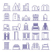 Set of modern futuristic building icons outline. Buildings and houses in minimalist line icon.