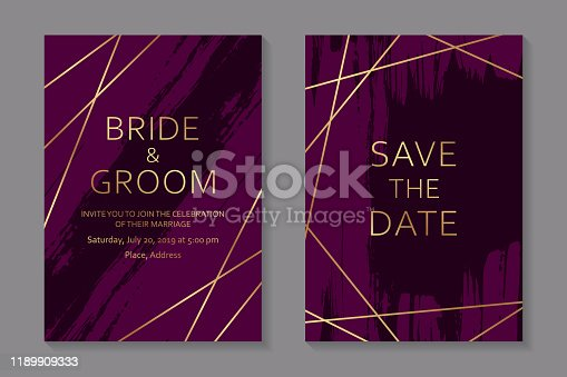 Set of two cards with golden lines on a dark pink background with grunge brush strokes.