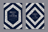 Set of two cards with navy blue rhombuses and hexagons on a silver glitter background.