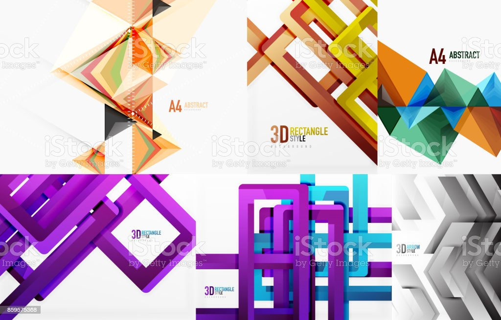 Set Of Modern Geometric Templates Stock Vector Art & More Images of ...