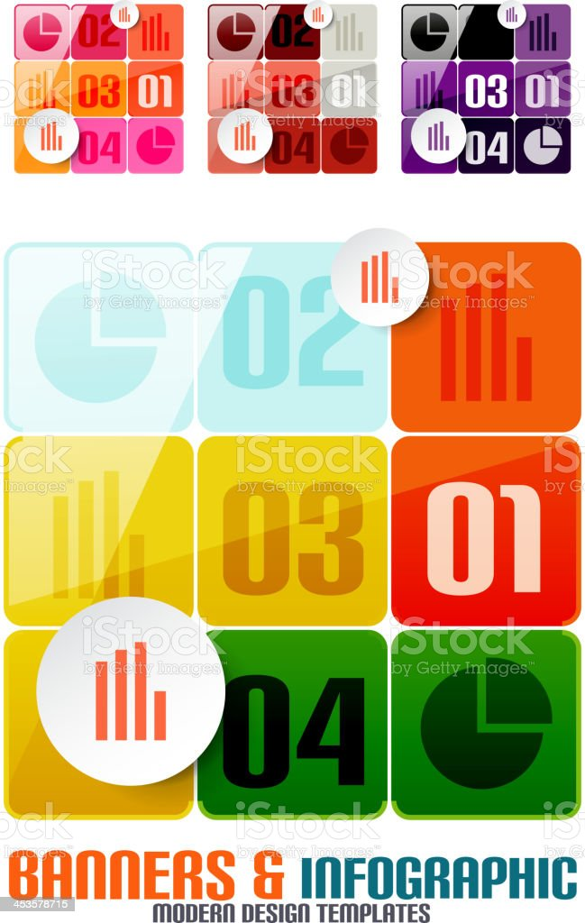 Set of modern geometrical banners and infographics vector art illustration