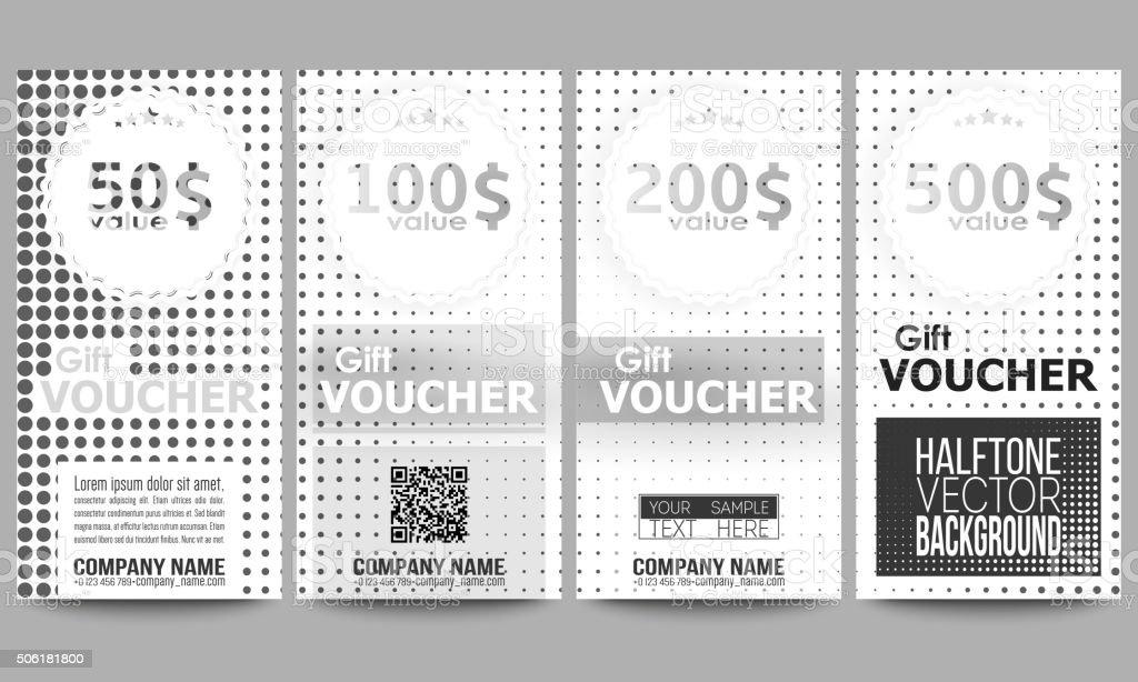 Set Of Modern Gift Voucher Templates Halftone Vector Background ...