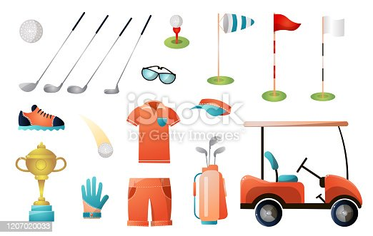 Set of modern golf equipment for gold championship or just holiday game. Cartoon style. Vector illustration on white background