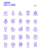 Set of Modern Gradient flat line Hotel services icons suitable for mobile concepts, web application, printed media and infographics projects. Vector Illustration