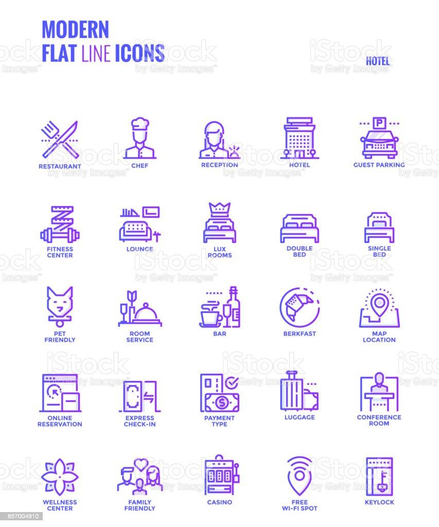 Set of Modern Gradient flat line Hotel services icons vector art illustration