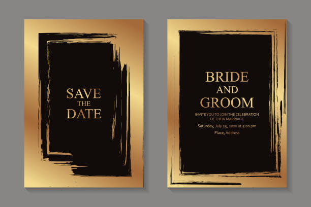 Set of modern grunge luxury wedding invitation design or card templates for business or poster or greeting. Set of two cards with golden paint brush strokes frames on a black background. anniversary borders stock illustrations