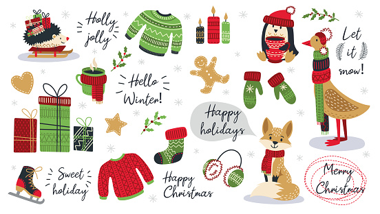 Set of modern hand drawn christmas animals and other isolated elements. Vector illustration.
