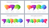 Set of modern infographic designs, templates, concepts with optional speech bubbles. Vector illustration.