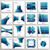 Set of infographics templates design with paper elements.