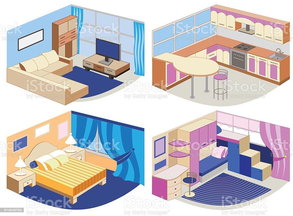 set of modern interiors (vector illustration) vector art illustration