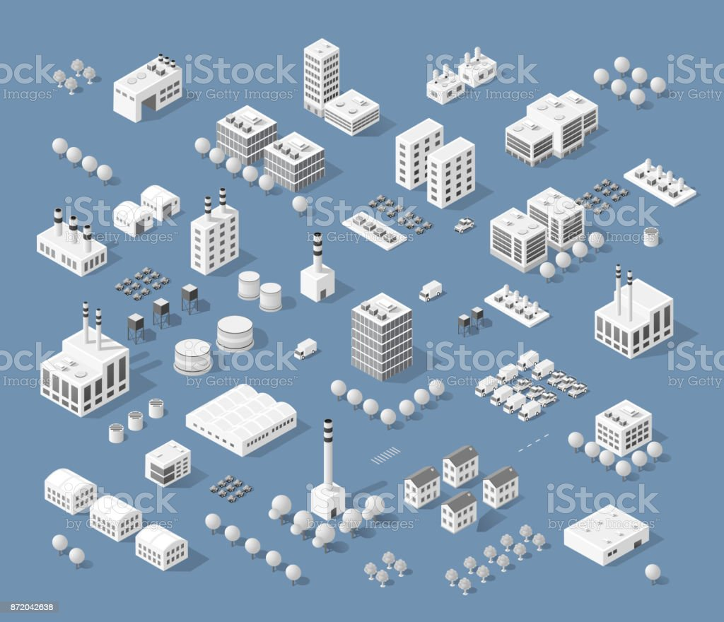 Set of modern isometric buildings vector art illustration