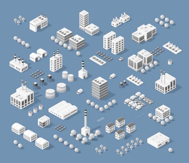Set of modern isometric buildings vector art illustration