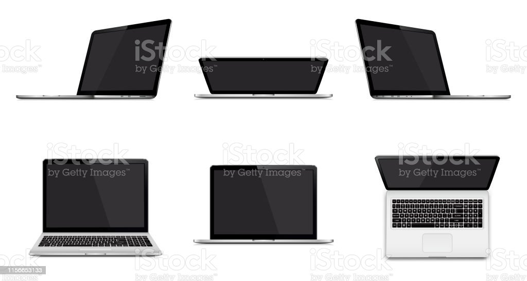Set of modern laptop with blank screen isolated on white background Laptop set isolated. Perspective, top and front view with blank screen. Vector illustration. Black Color stock vector