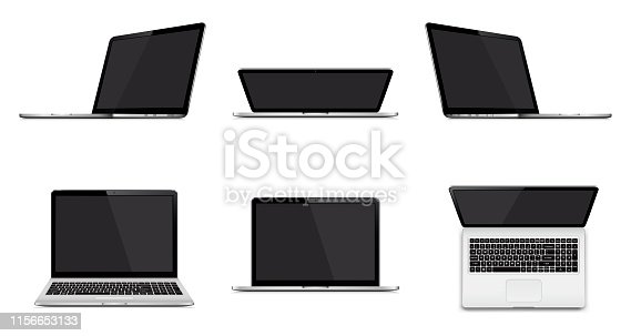 Laptop set isolated. Perspective, top and front view with blank screen. Vector illustration.