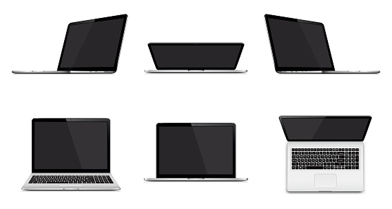 Set of modern laptop with blank screen isolated on white background clipart